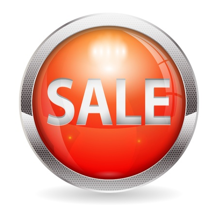 3D Red Sale Button, isolated on white, easy change color, vector illustration Stock Vector - 15405349