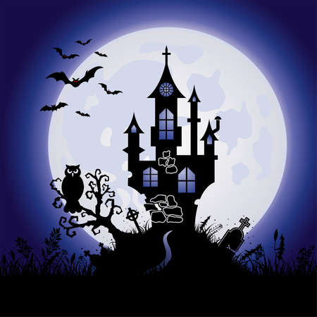 Halloween Greeting Card with Castle on Full Moon Background, vector illustration