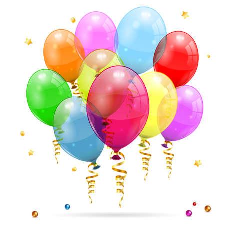 Balões 3D transparentes aniversário com Streamer, isolado no branco, fácil mudança de cor, vetor