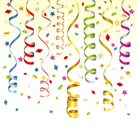 streamers: Birthday Background with Streamer and Confetti, vector illustration Illustration
