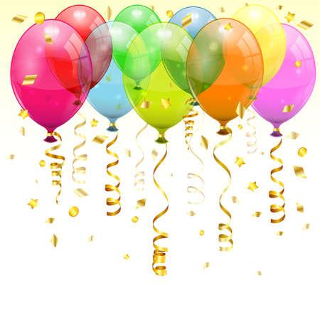 globos de cumpleaños: Cumpleaños Fondo con 3D Globos de cumpleaños transparentes y Streamer, color de fácil cambio, vector