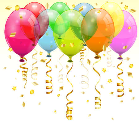 verjaardag ballonen: Verjaardag Achtergrond met 3D Transparante Ballons van de Verjaardag en Streamer, gemakkelijk van kleur veranderen, vector Stock Illustratie