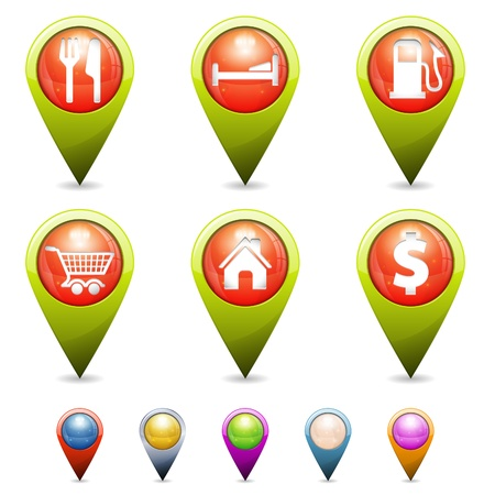 places of interest: Set 3D Map Pointers with Icons - home, restaurant, hotel, gas station, basket store, isolated. Easily Change the Color Illustration