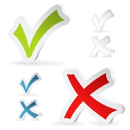 yes no: Stickers Check Marks - Yes and No, isolated on white, vector illustration
