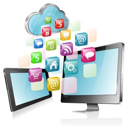 full screen: Cloud Computing Concept - Cloud with Tablet PC, Full HD Monitor and application icons, illustration