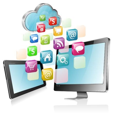 tablette pc: Concept Cloud Computing - Cloud avec votre Tablet PC, �cran Full HD et les ic�nes des applications, illustration