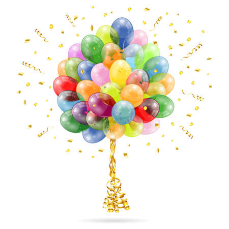 3D Transparent Birthday Balloons with Streamer and Confetti, isolated on white, easy change color Vector