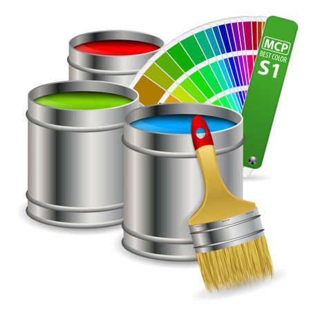 verfblik: Blikken van verf in RGB kleuren met Color Guide and Brush, concept Stock Illustratie