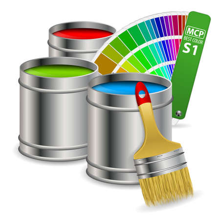 paint can: Cans of paint in RGB colors with Color Guide and Brush,  concept