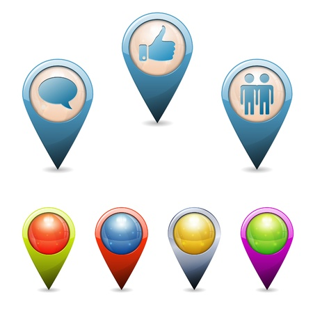 Set 3D Map Pointers with Social Media Icons - Speech Bubbles, Like, Join, isolated. Easily Change Color. Stock Vector - 15684737