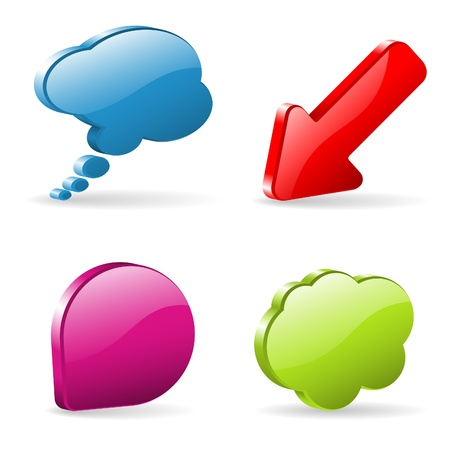 thought bubbles: Set 3D Speech and Thought Bubbles and Arrow, easy to change colors, illustration