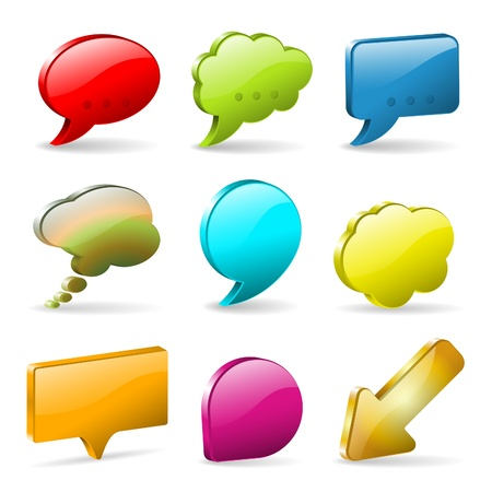 Set 3D Speech and Thought Bubbles and Arrow, easy to change colors, illustration Stock Vector - 15684707