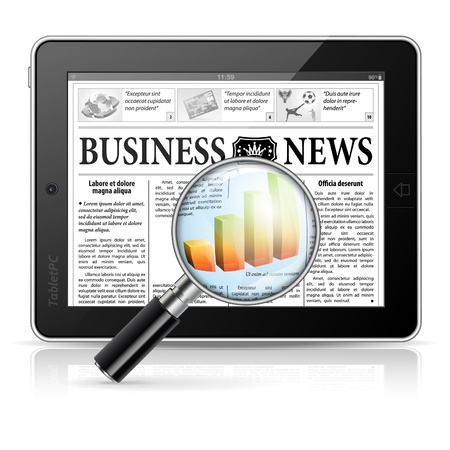 digital news: Magnifier Enlarges Chart in Business News on Tablet PC, isolated on white background