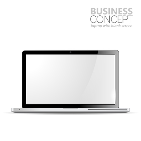 Laptop with Blank Screen, isolated on white background,  illustration Stock Vector - 15731278