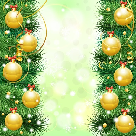 Christmas Frame with Baubles, fir branches, paper streamer and confetti,  illustration Stock Vector - 15731296