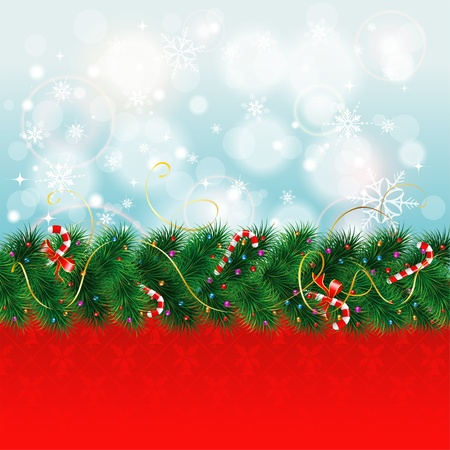 Christmas Border with Fir Branches and Candy Stock Vector - 15834446