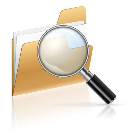 lupa: Ikona - Zvětšovací sklo a složky s listy papíru, vyhledávání koncept, izolovaných na bílém
