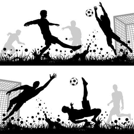 torwart: Stellen Fussball Silhouetten Spieler und Torwart, isoliert auf wei�em Hintergrund Illustration