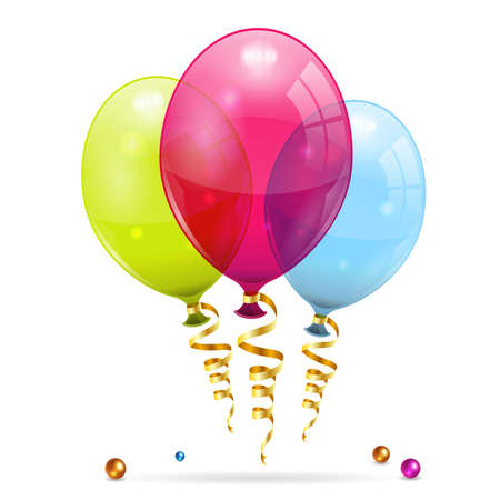 3D Transparent Birthday Balloons with Streamer Illustration