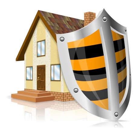 경보: 방패와 홈 아이콘 - 안전 하우스 개념