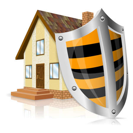 home security: Home Icon with Shield - Safe House Concept