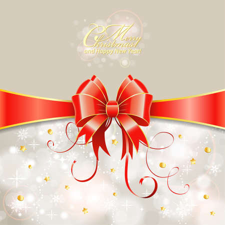 Christmas Greeting Card with Ribbon and Bow Illustration
