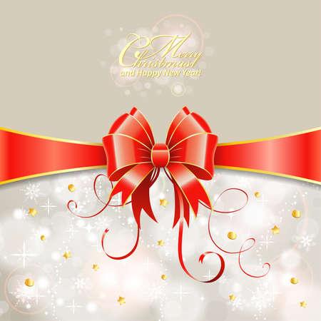 muerdago navideÃ?  Ã? Ã?±o: Tarjeta de felicitación de Navidad con la cinta y el arco