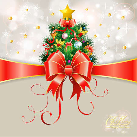 Christmas Greeting Card with Christmas Tree and Bow Vector