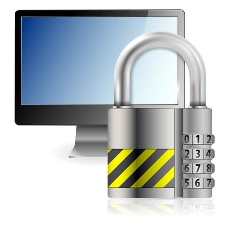 monoblock: Business concept - Code Padlock protects Computer Monitor, isolated on white background