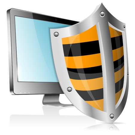 Business concept - Shield protects Computer Monitor Vector
