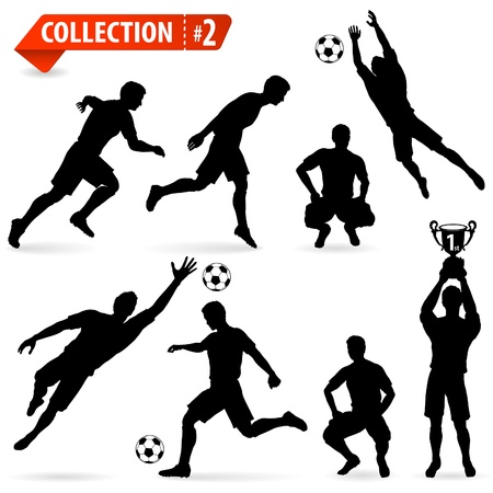 dribble: Set of Silhouettes of Soccer Players in various Poses with the Ball