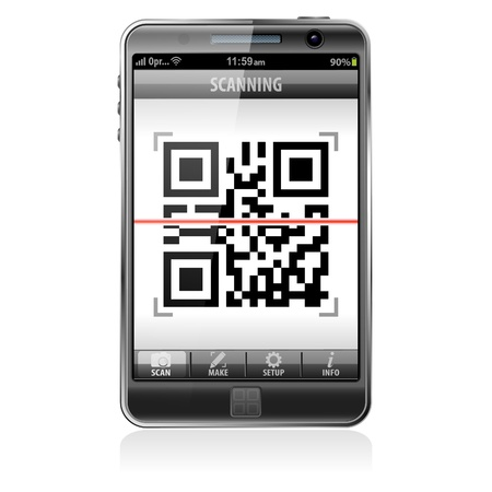 scan: Mobile Application Scanning QR Code - e-commerce concept, isolated on white background