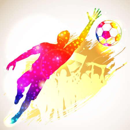 futbol soccer dibujos: Silueta del f�tbol Jugador y portero Fans en fondo del grunge