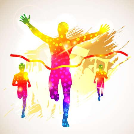 maraton: Silueta del hombre ganador y aficionados en el fondo del grunge, ilustraci�n para el dise�o Vectores
