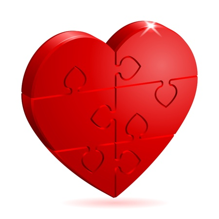 puzzle heart: Love Concept - 3D Heart Puzzle. It is easy to change the color. Vector Illustration.