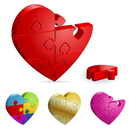 amour: Love Concept - Set 3D Heart Puzzle. Broken and Whole. It is easy to change the color. Vector Illustration. Illustration