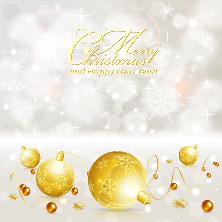 christmas menu: Christmas Background with Baubles and Streamer, vector illustration