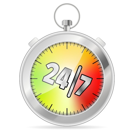response time: 247 Concept with Timer icon, isolated on white, vector illustration