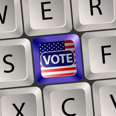 Vote Concept - Computer Keyboard with voting key, U.S. presidential election, vector illustration Vector