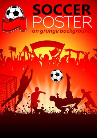 football match: Poster di calcio con giocatori e tifosi su sfondo grunge, illustrazione vettoriale