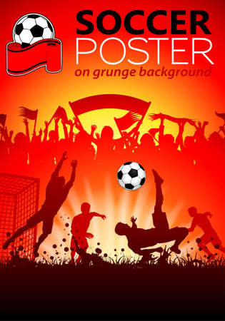 football kick: Soccer Poster with Players and Fans on grunge background, vector illustration Illustration
