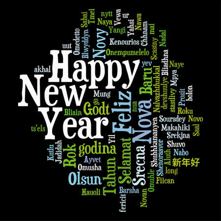 happy new year text: New Year Concept from Tag Cloud in various languages, isolated on black background, vector illustration