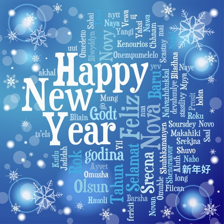 happy new year text: New Year Concept from Tag Cloud on Bright Background, vector illustration Illustration