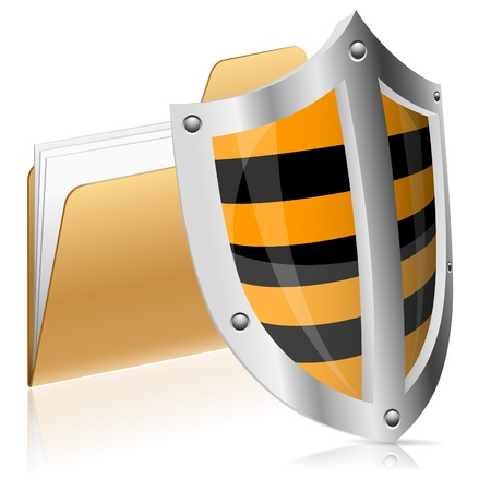 web security: Security Concept - Shield Protects Computer Data in Folder, vector illustration