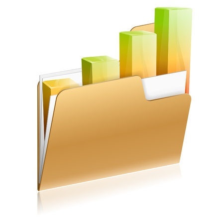 Folder icon with paper sheet and 3D Graph, icon isolated on white, vector Stock Vector - 16221624