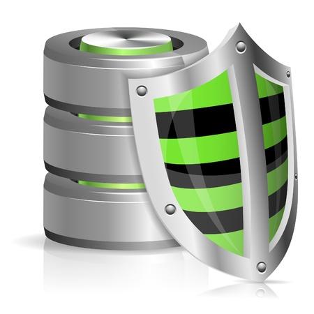 protected database: Concepto de Seguridad - Shield protege la base de datos y el icono del disco duro, aislado en blanco