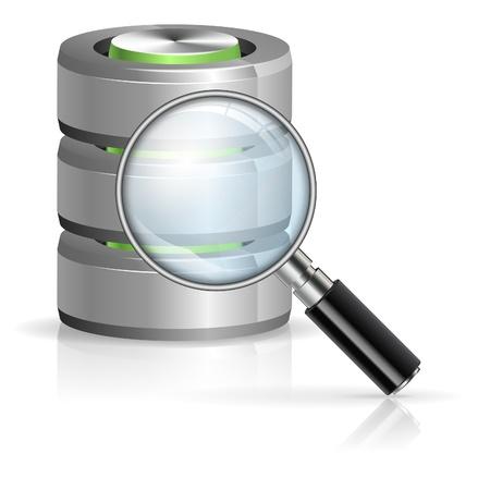 databank: Vergrootglas Zoeken in database pictogram, geïsoleerd op wit Stock Illustratie