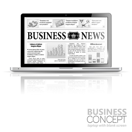 digital news: Digital News Concept with Business Newspaper on screen Laptop, icon isolated on white