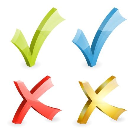 h�kchen: Set Transparent Checkmarken verschiedenen Farben, einfach Farbe �ndern, Symbol isoliert auf wei� Illustration