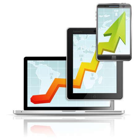 tablette pc: L'augmentation de Business Graph sur le PC Tablet PC Portable �cran et Smartphone sur la carte de la Terre, isol� sur fond blanc, illustration vectorielle Illustration